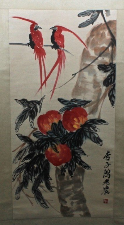 Chinese Scroll Painting Signed by Qi Bai Shi