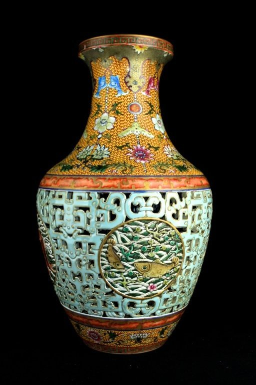Large Chinese Qing Porcelain Double Layer Vase