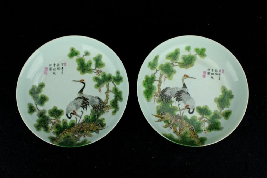 Pair of Chinese Qing Porcelain Famille Rose Plate