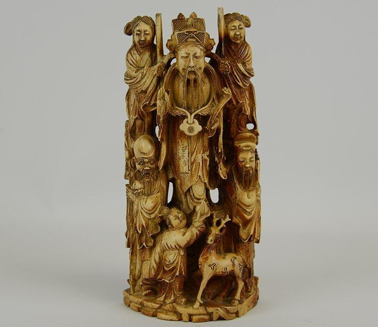 Impressive Chinese Early Qing Dynasty Fu Lu Xi Ivory