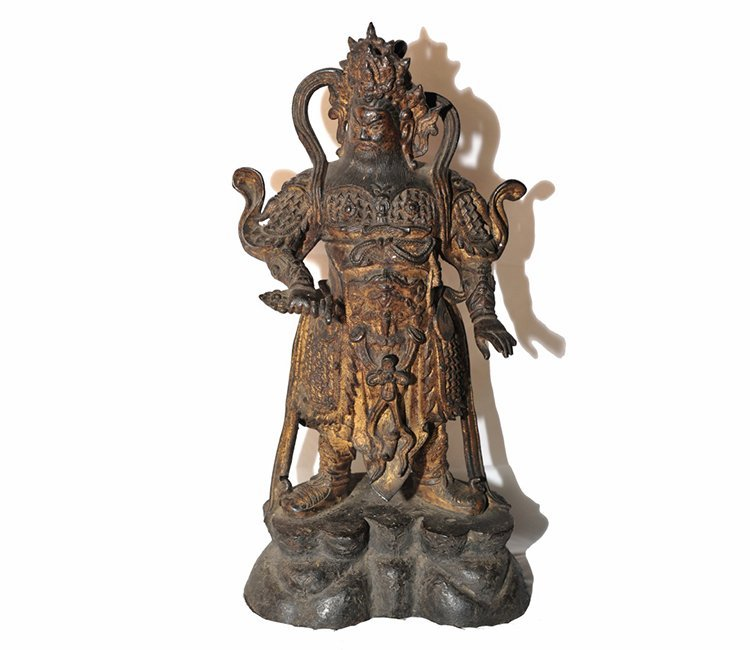 Important Ming Dynasty Chinese Gilt Bronze Warrior