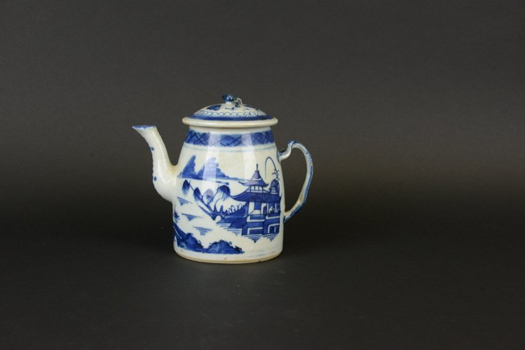 19th C. Chinese Export Blue & White Canton Teapot