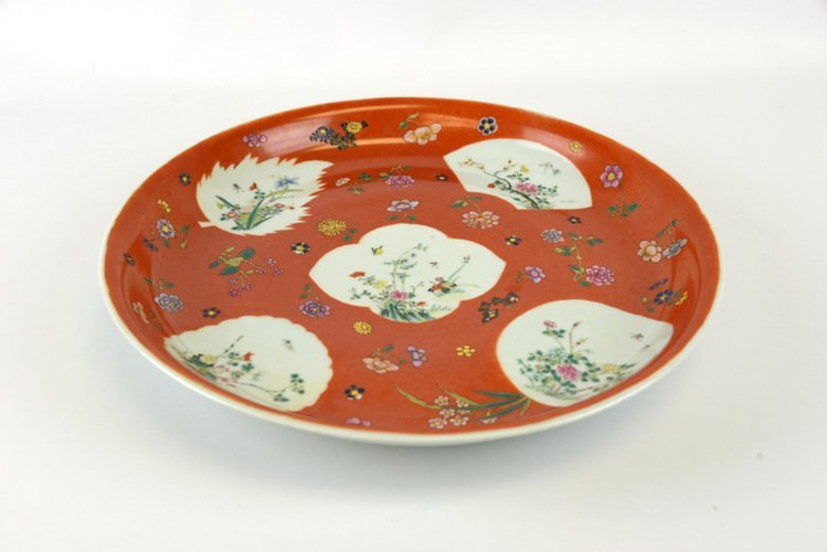 19th Century Chinese Enameled Iron Red Charger