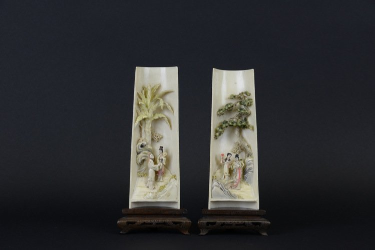 Pair of 19th C. Chinese Ivory Arm Rests