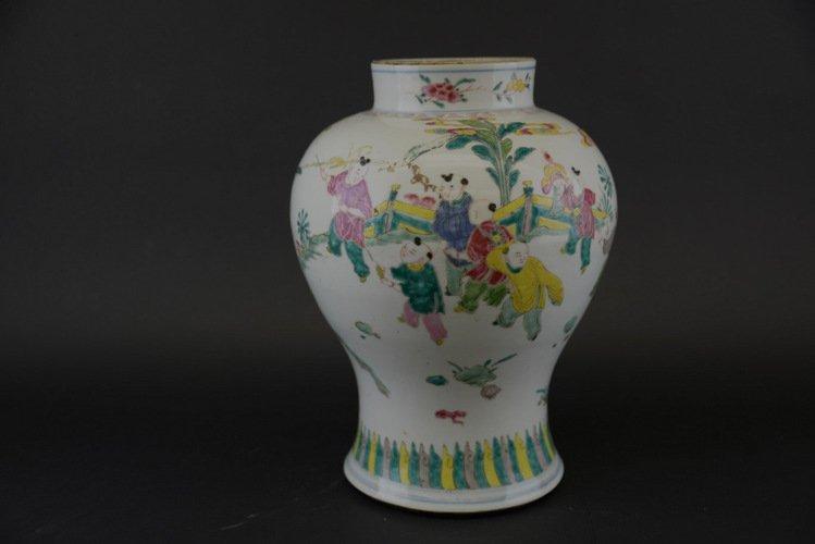 Chinese Famille Verte Mei Ping Vase