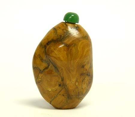 19th Century Chinese Petrified Wood Snuff Bottle