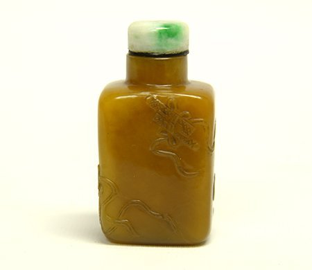 19th Century Chinese Carved Stone Snuff Bottle