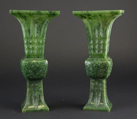 Chinese Spinach Jade Gu Vases, Qianlong Period