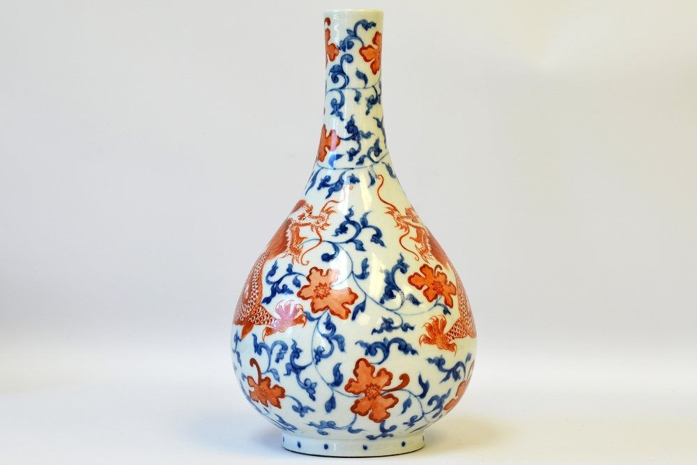 Chinese Copper Red Dragon Bottle Vase