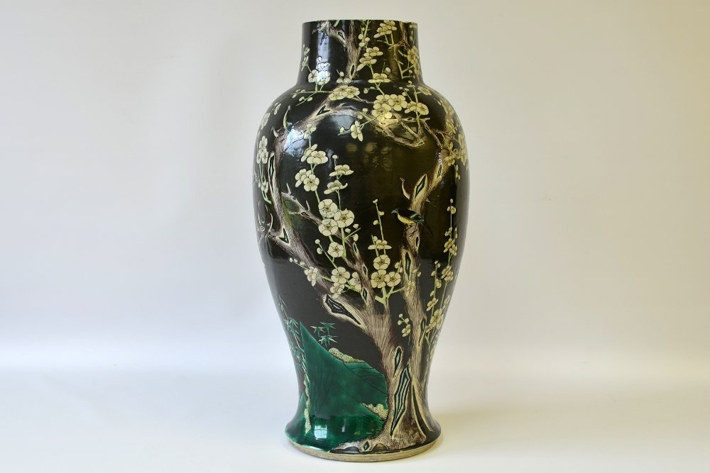 A Chinese Famille Noir Porcelain Vase