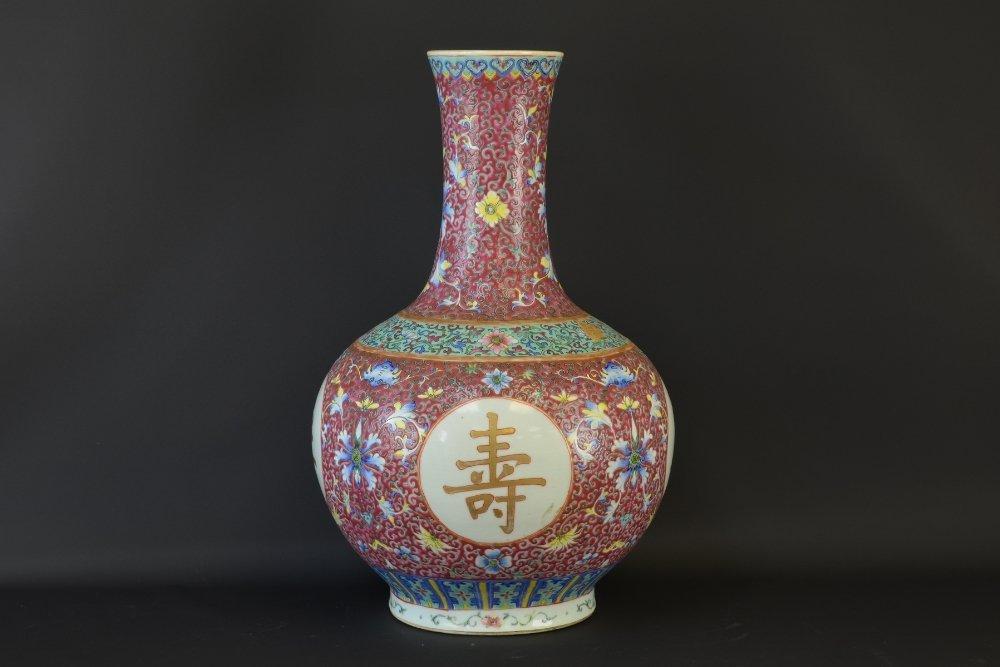 Large Chinese Famille Rose Enameled Vase