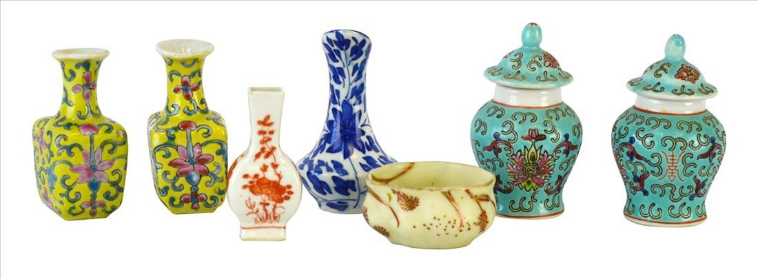 Set of Seven Miniature Chinese Porcelains