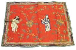 A Chinese Embroidered Red Silk Panel