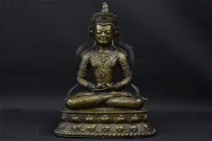 Western Tibetan Bronze Buddha Amitabha, 12/13th C.
