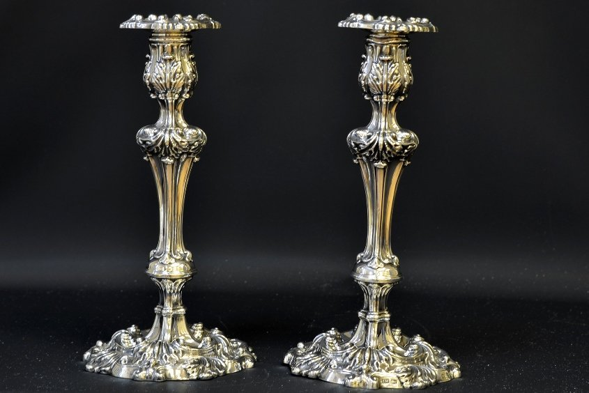 Pair of Early 19th C. English Silver Candlesticks