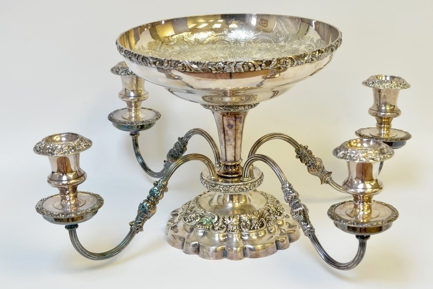 A Silver Plated Center Piece Candle Holder