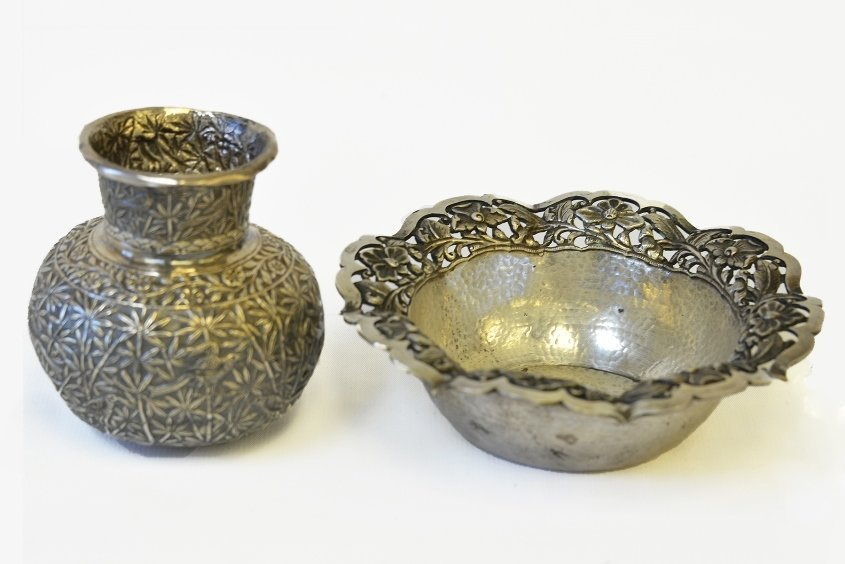 A Small Silver Vase and Bowl