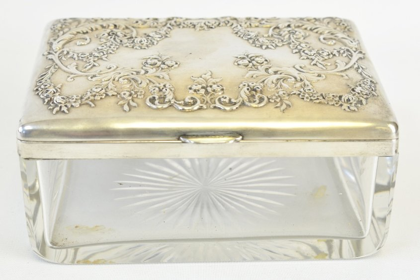 An Early 20th C. American Sterling and Glass Box