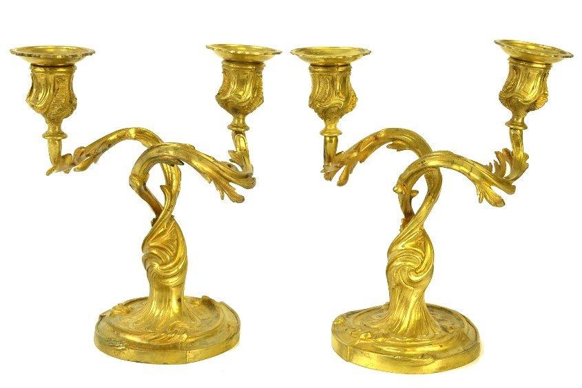 Pair of Continental Gilt Brass Candlesticks