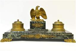 A French Marble and Bronze Inkwell