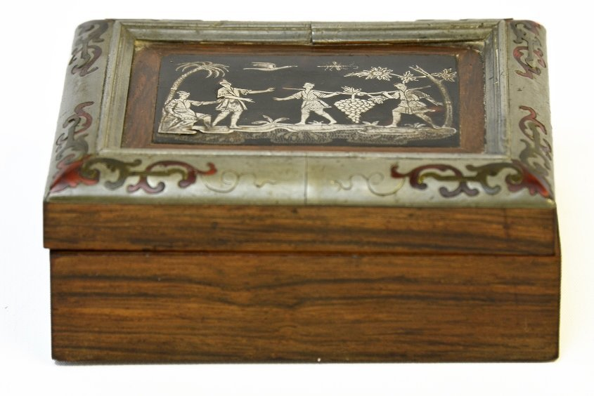 A Continental Wood and Boulle Work Box