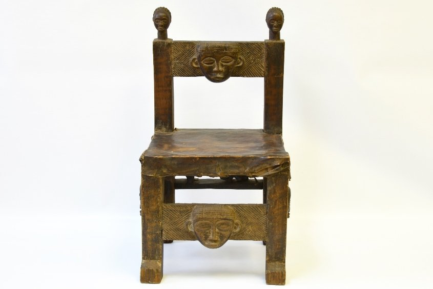An African Carved Wood Fertility Chair