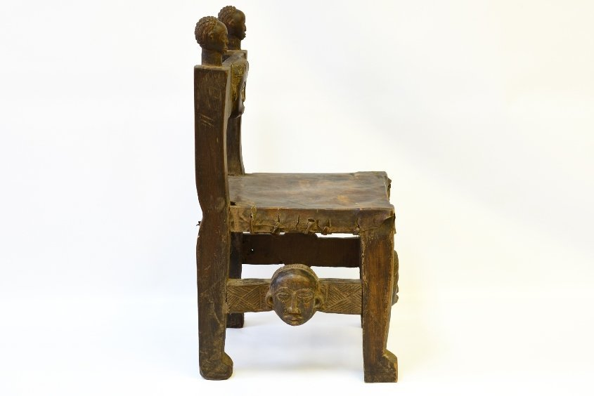 An African Carved Wood Fertility Chair - 2