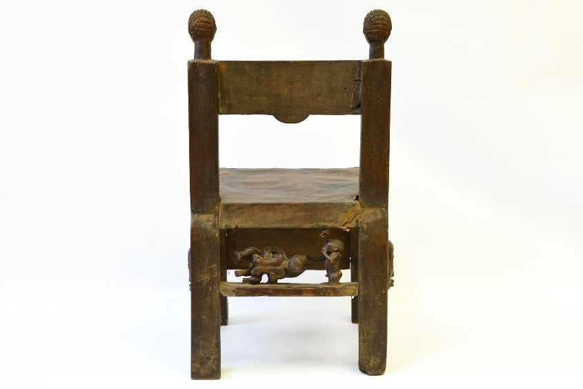 An African Carved Wood Fertility Chair - 3