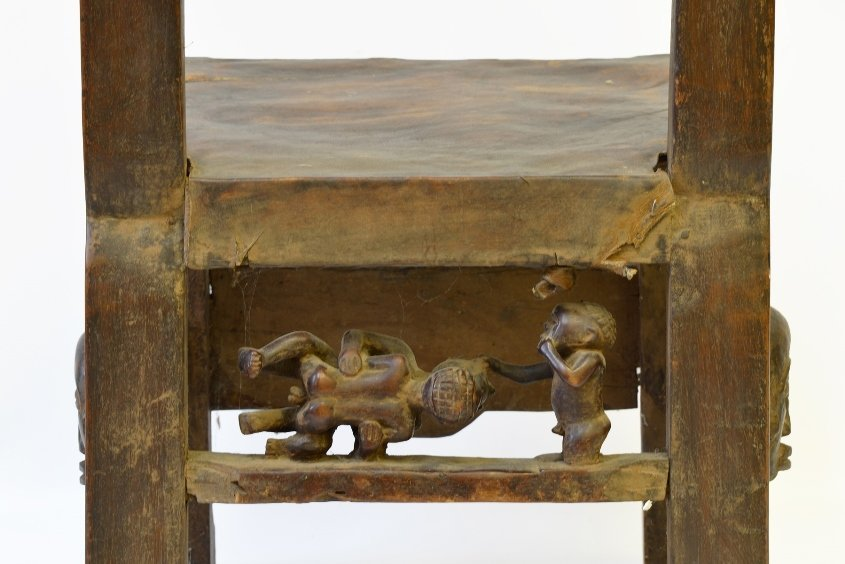 An African Carved Wood Fertility Chair - 6