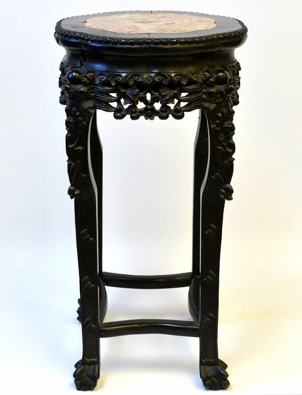 Early 20th C. Chinese Wood and Marble Plant Stand