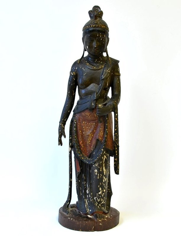 A Chinese Wooden Sculpture of a Woman