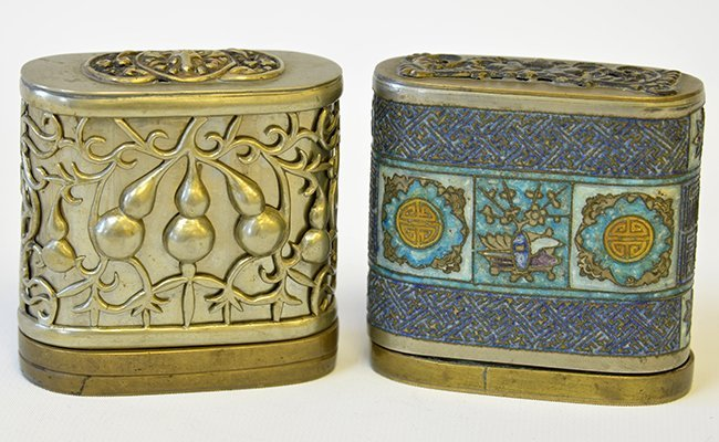 A Pair of Chinese Brass and Metal Opium Boxes