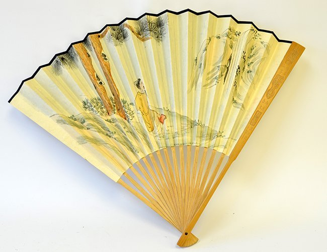 A Chinese Painted Hand Fan