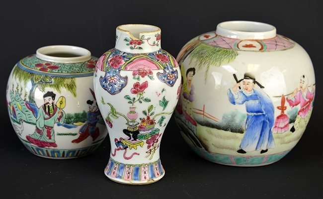 A Group of Chinese Famille Rose Porcelain Vases