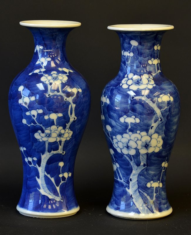 A Pair of Chinese Plum Flower Porcelain Vases