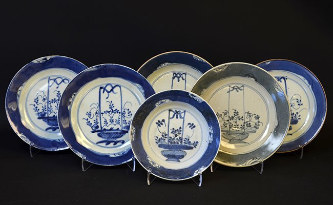 A Set of Chinese Blue and White Porcelain Dishes