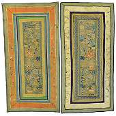 A Pair of Chinese Embroidered Silk Panels