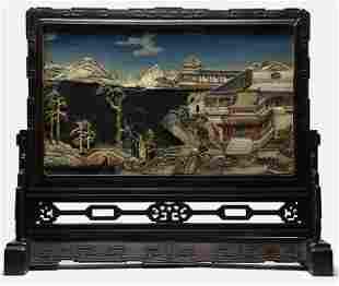 18thC. Qianlong Chinese Zitan & Ivory Table Screen