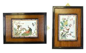 A Pair of Chinese Enameled Porcelain Plaques