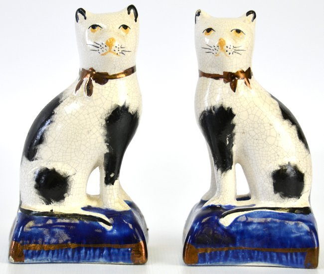 A Pair of English Staffordshire Cats