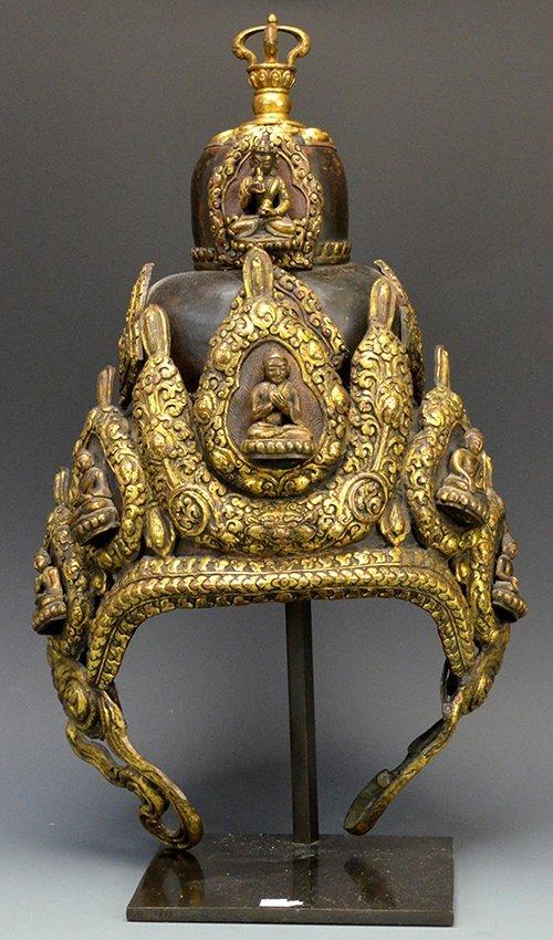 18th/19th C. Tibetan Gilt Copper Ceremonial Helmet
