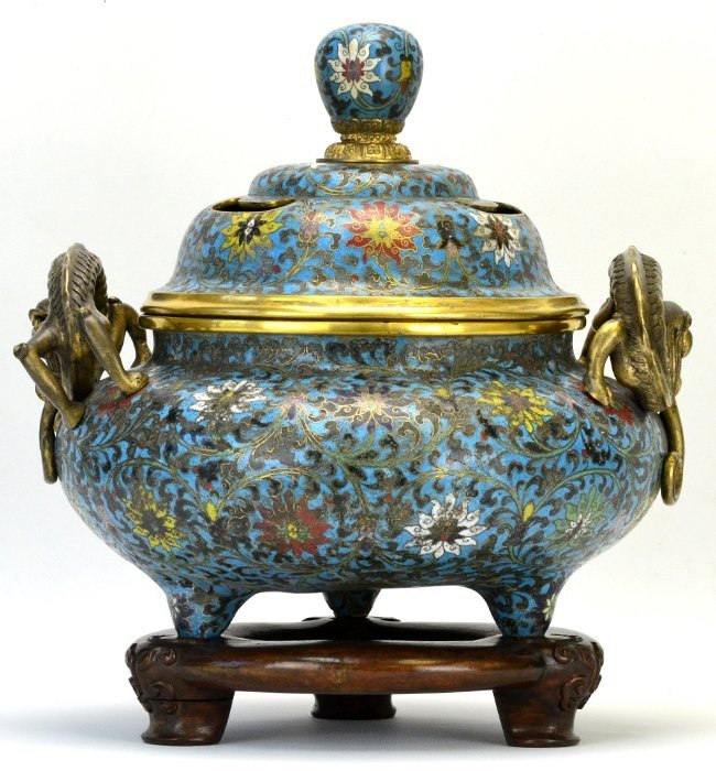 A Chinese Cloisonne Censer, Qing Dynasty