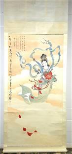 Zhang Daqian (1899-1983), Goddess with Flowers