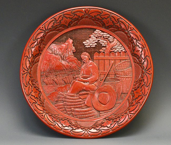 A Chinese Cultural Revolution Red Lacquer Plate