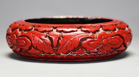 Late Qing Dynasty Chinese Red Lacquer Carved Bowl