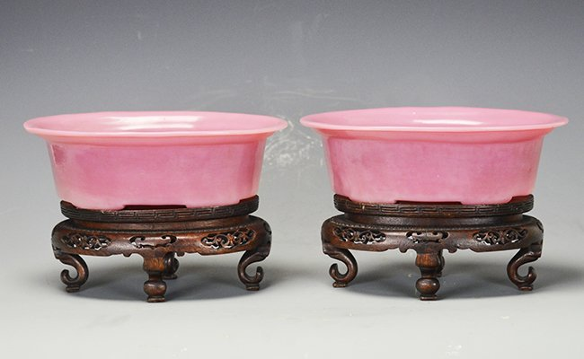 A Pair of Chinese Peking Pink Glass Dishes