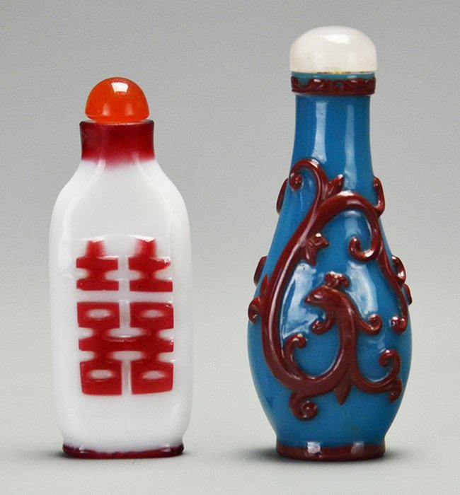 Two Chinese Red Overlay Glass Snuff Bottles