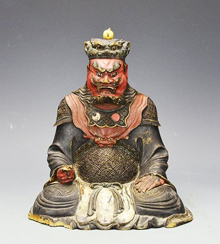 A Chinese Carved Wooden Guardian King