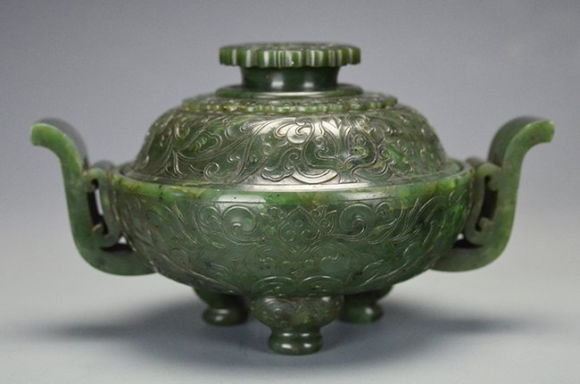 A Carved Chinese Spinach Jade Censer