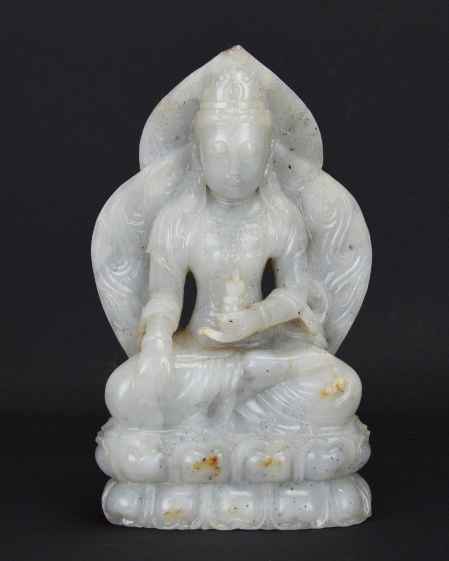 A Chinese White Jade Bhaishajyaguru Bodhisattva